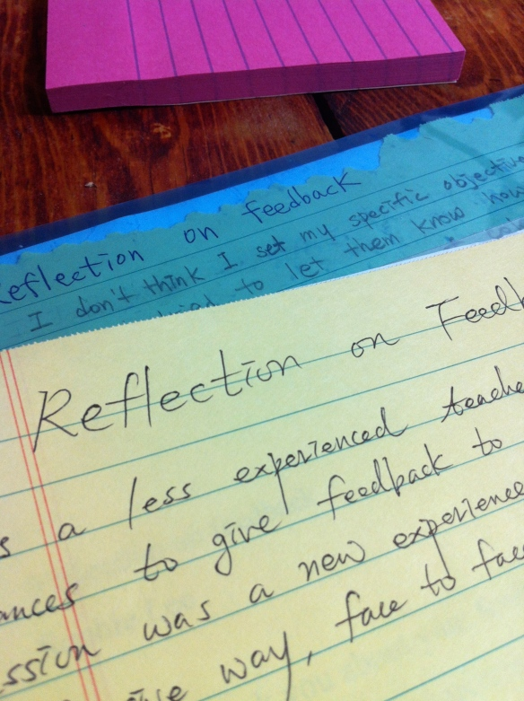 Teacher-trainees reflecting on the feedback process, and me giving them feedback on their feedback experience. #meta
